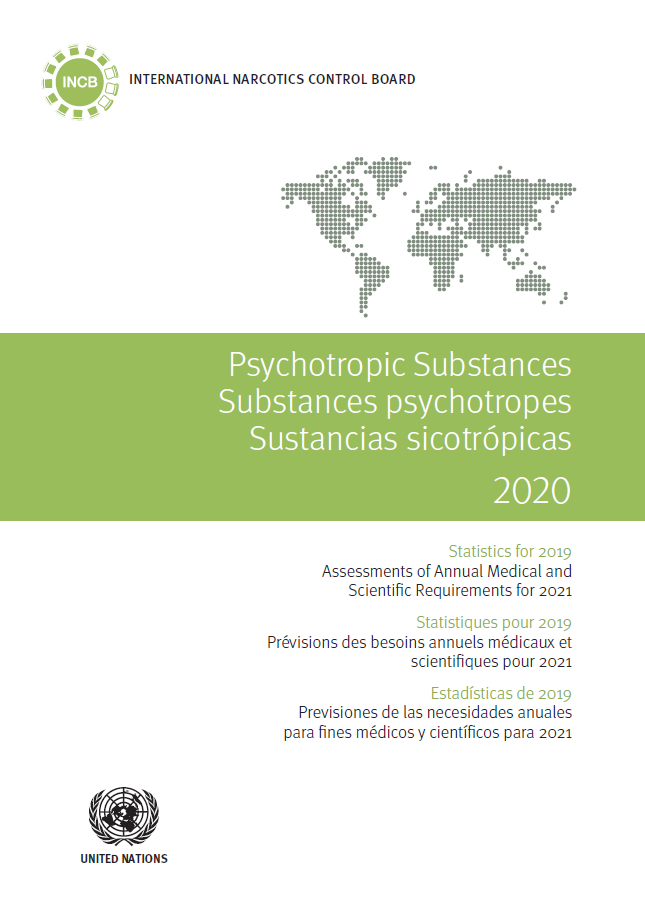 Cover of the INCB Psychotropic Substances Statistics for 2020